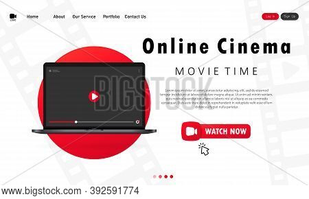 Online Cinema Banner. Modern Laptop Concept. Home Online Cinema. Vector On Isolated White Background