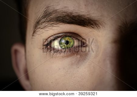 Beautiful colorful green eye close up young stock