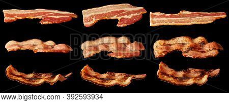 Bacon Slices Roast Degree. Set Of Meaty Smoked Bacon Strips Isolated.