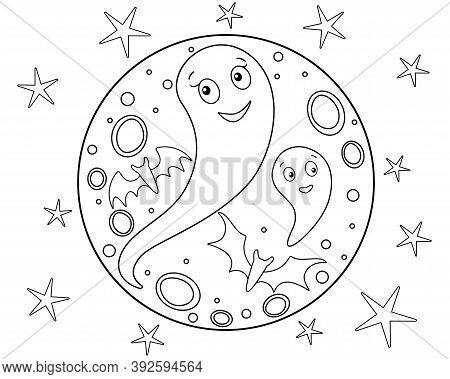 Ghosts On The Background Of The Full Moon And Stars - Halloween Coloring Book - Vector Linear Illust