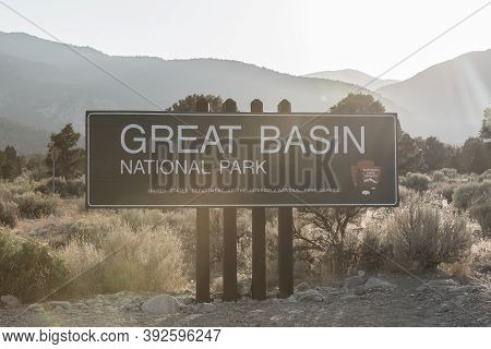 Great Basin National Park, United States: August 4, 2020: Sun Rays Over Great Basin Entrance Sign