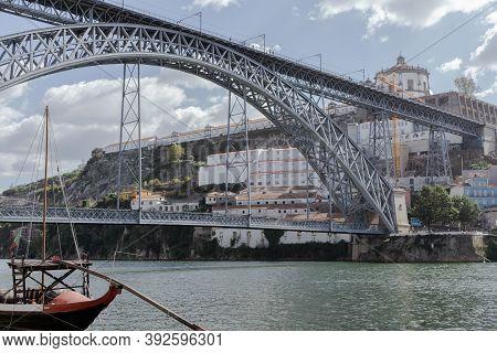 Porto, Portugal, October 14th 2020: Luis I Bridge Over The Douro River In Porto, Portugal