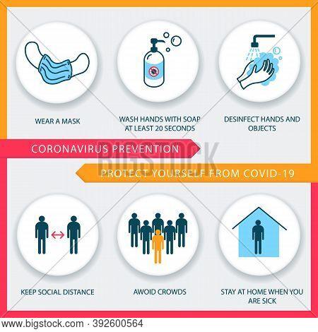 Covid-19 Prevention Tips. Coronavirus 2019-ncov Desease Prevention Infographics. Vector Icons Set.