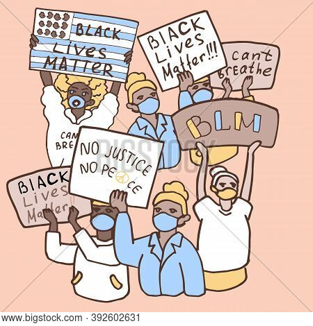 Antiracism Protesters Poster On Beige Backdrop. Antiracist Protest For Invitation Or Gift Card, Soci