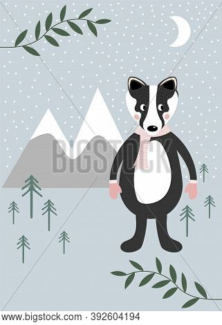 Badger In An Icy Winter Landscape With Snow, Christmas Trees, Mountains, And The Moon On A Blue Back