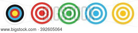 Archery Target Collection. Isolated Bullseye Dartboard On White Background. Success Symbol For Busin