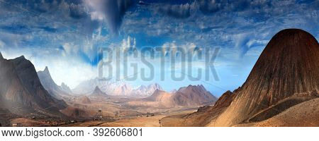 Fantastic landscape with  mountains and sky