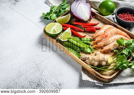 Recipe And Ingredients Tom Kha Gai. Thai Galangal Chicken Soup In Coconut Milk. Gray Background. Top