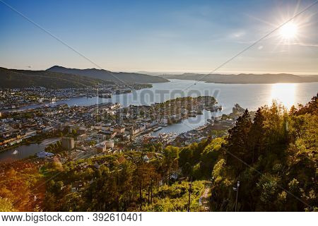 Bergen is a city and municipality in Hordaland on the west coast of Norway. Bergen is the second-largest city in Norway. The view from the height of bird flight. Aerial FPV drone flights.