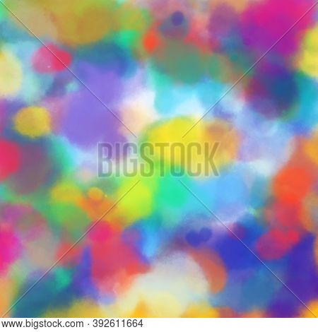 Abstract Background Of Bright Colored Paint Spots. A Beautiful Combination Of All Colors Of The Rain