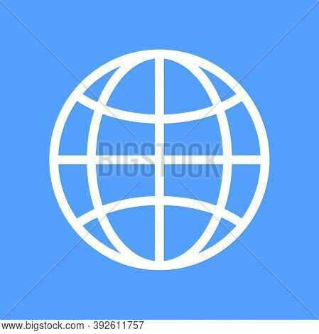 Globe Flat Icon Vector. World Wide Concept Globe Internet Icon. Website Icon. Www Sign. Search Www V