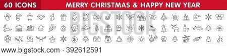 Set Of 60 Christmas Icons. Merry Christmas And Happy New Year. Collection Xmas Icons. Winter, Santa,