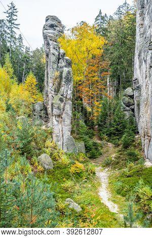 Sandstone Rock Formation In Vibrant Autumn Forest. Prachov Rocks, Czech: Prachovske Skaly, In Bohemi