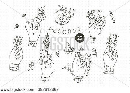 Collection Hand Drawn Hand Set. Magic Woman Outline Symbols, Boho Vector Illustrations. Can Use Tatt