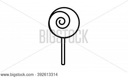 Sweet Round Caramel On A Stick, On A White Background, Vector Illustration. Delicious Black And Whit