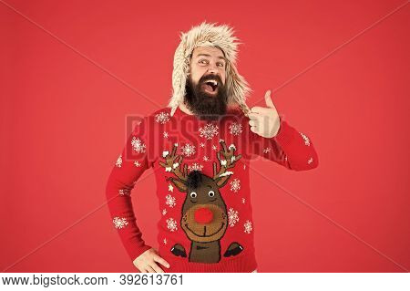 Loving Cold Weather. Happy New Year. Join Party. Winter Outfit. Christmas Sweater. Cheerful Hipster