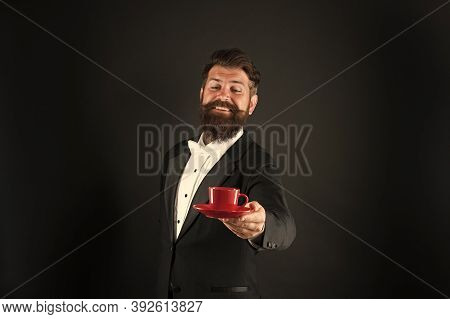 Try Best Coffee In Your Life. Man Bearded Hipster Prepared Coffee. Drinking Coffee. Businessman Enjo