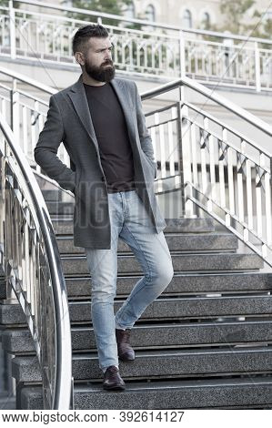 Down The Stairs. Stylish Casual Outfit Spring Season. Menswear And Male Fashion Concept. Man Bearded