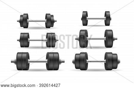 Metal 3d Black Dumbell Isolated On White Background. Vector Vintage Set Icons Of Barbell, Dumbbell.