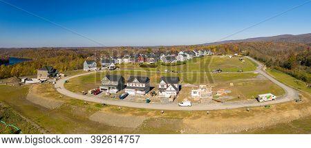 Morgantown, Wv - 31 October 2020: New Housing Development Or Subdivision Being Built Using Modular C