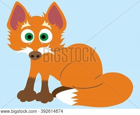 A Flat Vector Cartoon Baby Fox Is Looking Startled