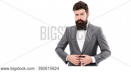 Elegancy And Male Style. Businessman Or Host Fashionable Outfit Isolated White. Fashion Concept. Cla