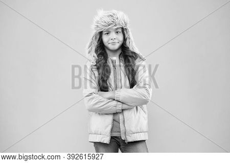 Street Style Hipster. Warm Hat For Cold Weather. Faux Fur Trend. Girl Long Curly Hair Wear Fur Hat E