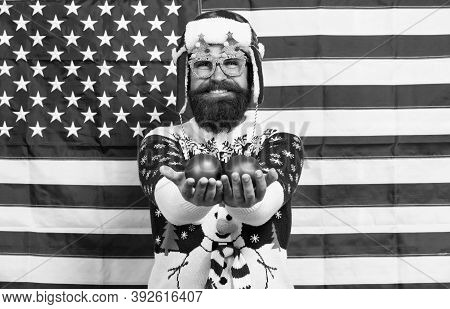 American Tradition. Santa Claus On American Flag. Celebrate Xmas And New Year In Patriotic Way. Trad
