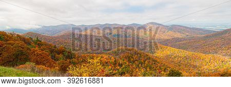 Scenic Morning View In Virginia From Skyline Drive During Fall