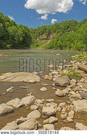 Vermillion River Cutting Through Sandstone Cliffs In Mathiessen State Park In Illinois