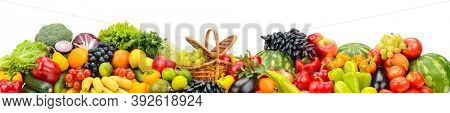 Wide panoramic composition of juicy fruits, berries and vegetables isolated on white background.
