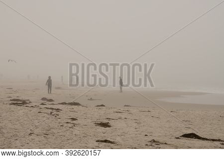Pacific Grove Beach During A California Wildfire, The Dolan Fire In The Big Sur, During The Fire Sea