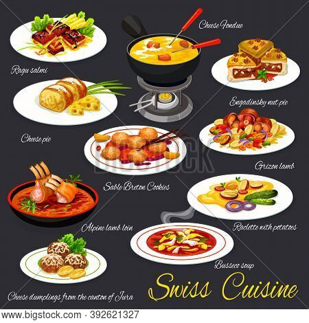 Swiss Cuisine Meals, Meat Dishes And Desserts Vectors. Guinea Fowl Ragout, Raclette With Potatoes An