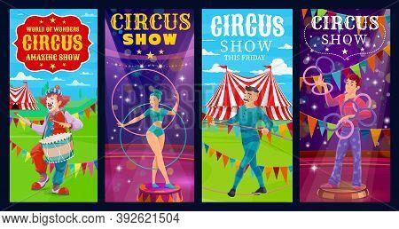 Circus Performers Vector Banners. Big Top Gymnast Woman, Clown, Ropewalker And Juggler Cartoon Chara