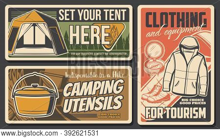Camping And Hiking Travel Tourism Sport And Outdoor Adventure, Vector Posters. Mountain Camp And Nat