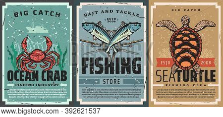Seafood Catch And Fishing Tackle Shop Vintage Poster. Ocean Crab, Tuna And Rods, Sea Turtle, Coral A