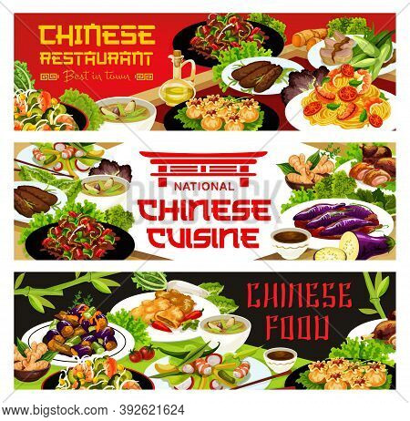 Chinese Cuisine Restaurant Vector Banner. Chinese Eggplant, Salad With Duck And Mango, Stir Fried Be