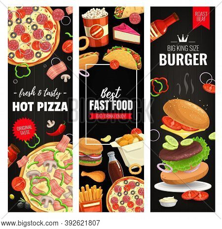 Pizza, Burger And Snack Vector Banners. Fast Food Hamburger, French Fries, Nuggets And Tacos With Co