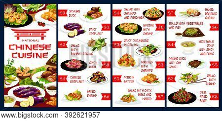 Chinese Cuisine Restaurant Menu Design Template. Asian Food Dishes With Duck Meat, Eggplant And , Sa
