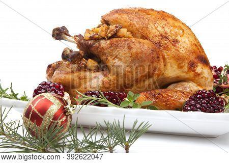 Pomegranate Glazed Roasted Turkey On White