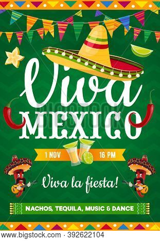 Viva Mexico Vector Poster With Mexican Symbols Sombrero, Jalapeno Peppers Musicians With Mustaches A