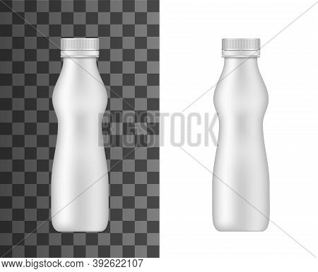 Plastic Bottle Vector Mockup, Realistic Closed Curvy Flask With Lid For Yogurt, Milk, Juice Or Dairy