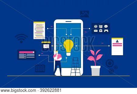 Programmer Thinking Mobile App Development Process Flat Design Illustration