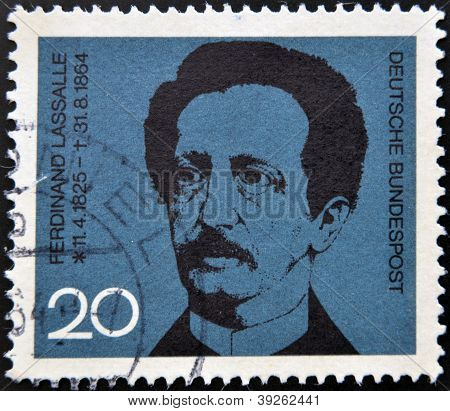 GERMANY - CIRCA 1964: A stamp printed in Germany shows Ferdinand Lasalle founder of the German Labor