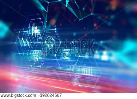 Fintech Icon  On Abstract Financial Technology Background Represent Blockchain And  Fintech Investme