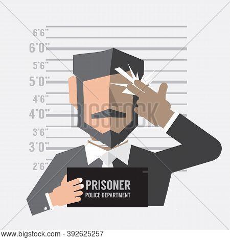 Prisoner Man Death Penalty Hand Gun Sign Concept Vector Illustration. Eps 10