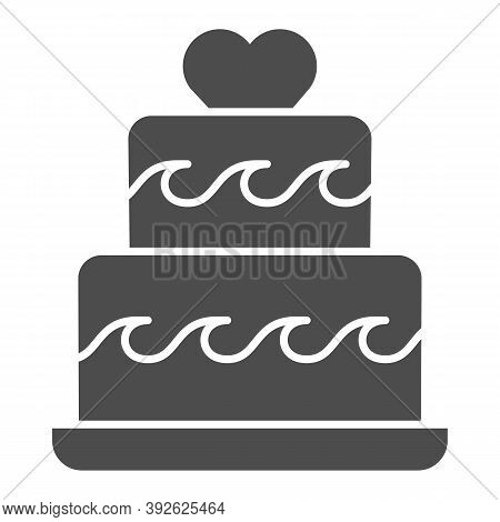 Two Tiered Cake With Heart Solid Icon, Birthday Cupcake Concept, Wedding Cake Sign On White Backgrou