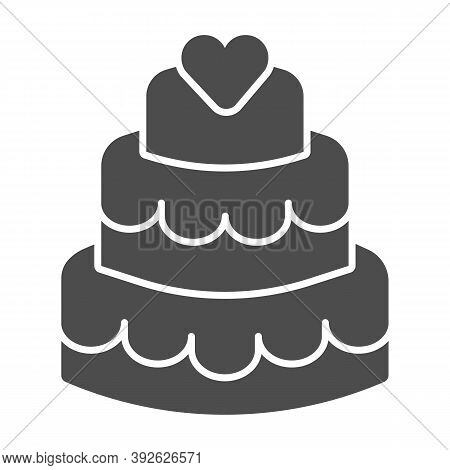 Three Tiered Cake Solid Icon, Birthday Cupcake Concept, Sweet Dessert Sign On White Background, Thre