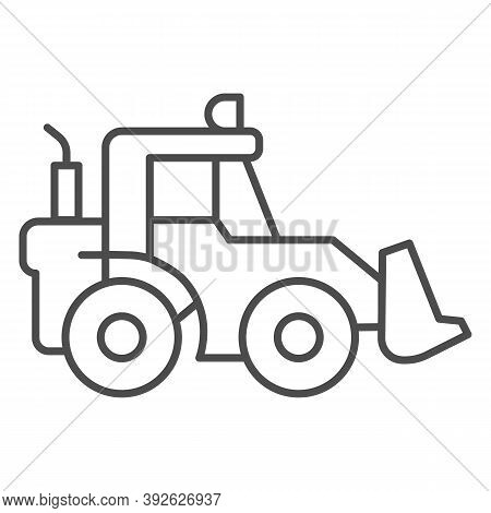 Tractor With Bucket Thin Line Icon, Heavy Equipment Concept, Backhoe Sign On White Background, Backh
