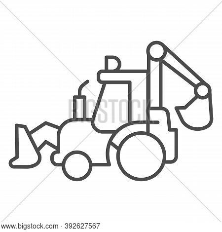 Tractor With Bucket Thin Line Icon, Heavy Equipment Concept, Backhoe Sign On White Background, Excav